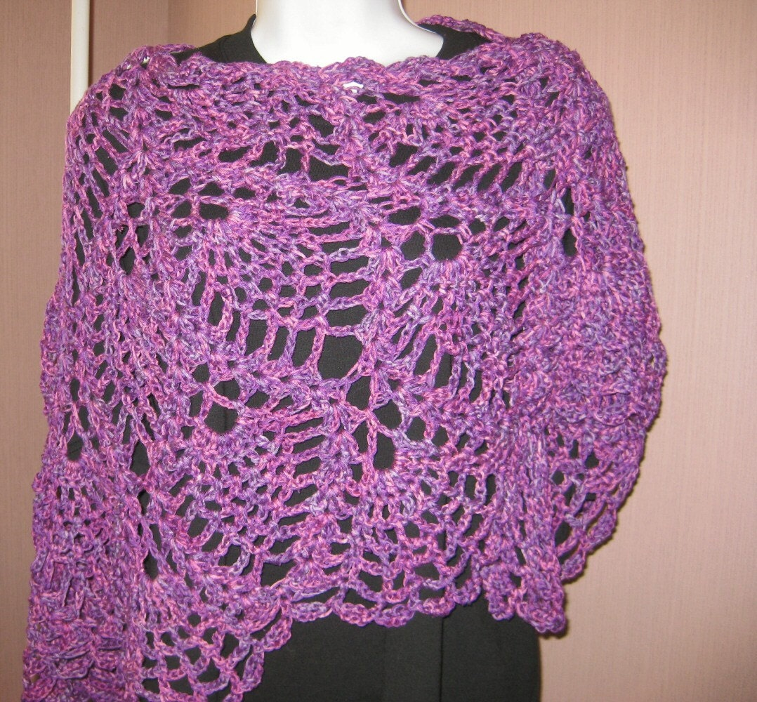 Pineapple Lace Crocheted Shawl, Perplexed, bamboo and silk