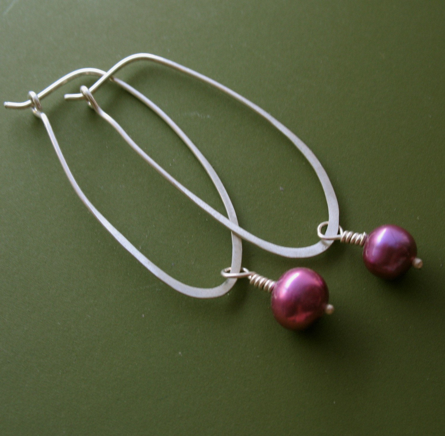 Oval Hoops with Raspberry Pearls