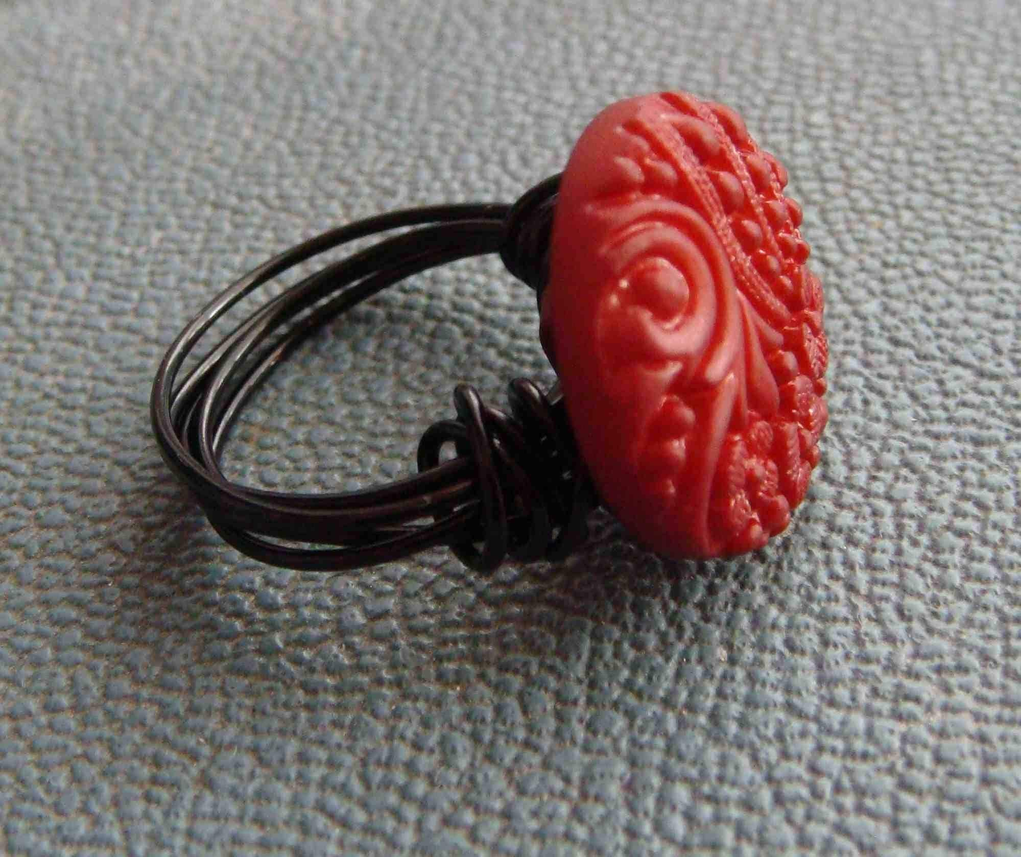 Love You Always - Red Vintage Button Ring