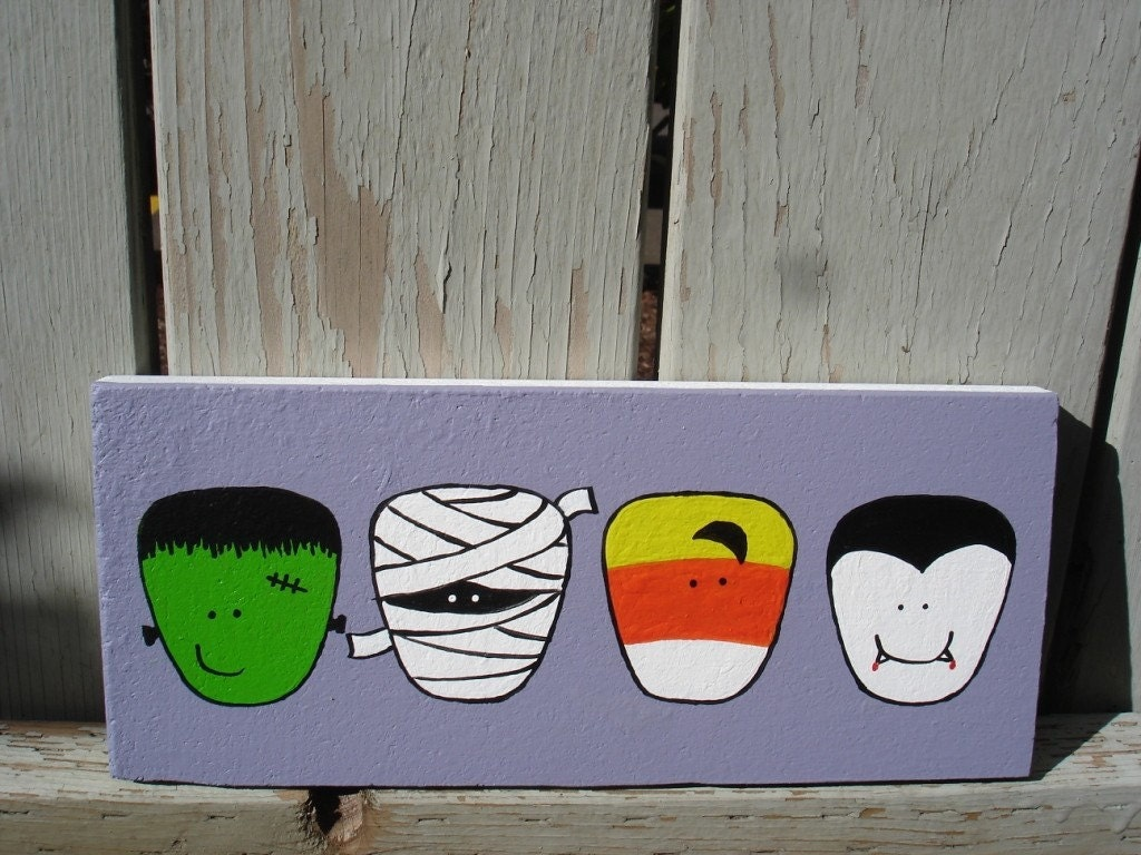 Spooky Halloween Foursome - original painting on upcycled wood