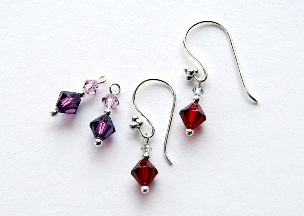 Interchangeable earrings -  2 sets of Swarovski drops on Sterling Silver in Garnet and Amethyst