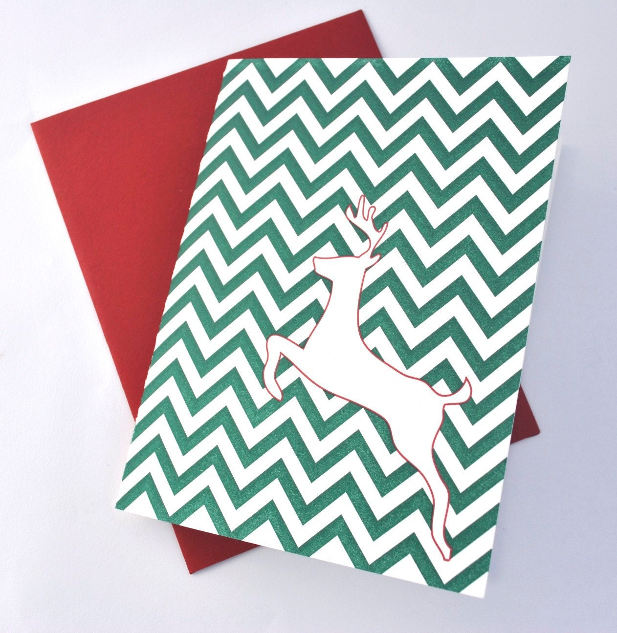 Chevron Reindeer Letterpress Holiday Card