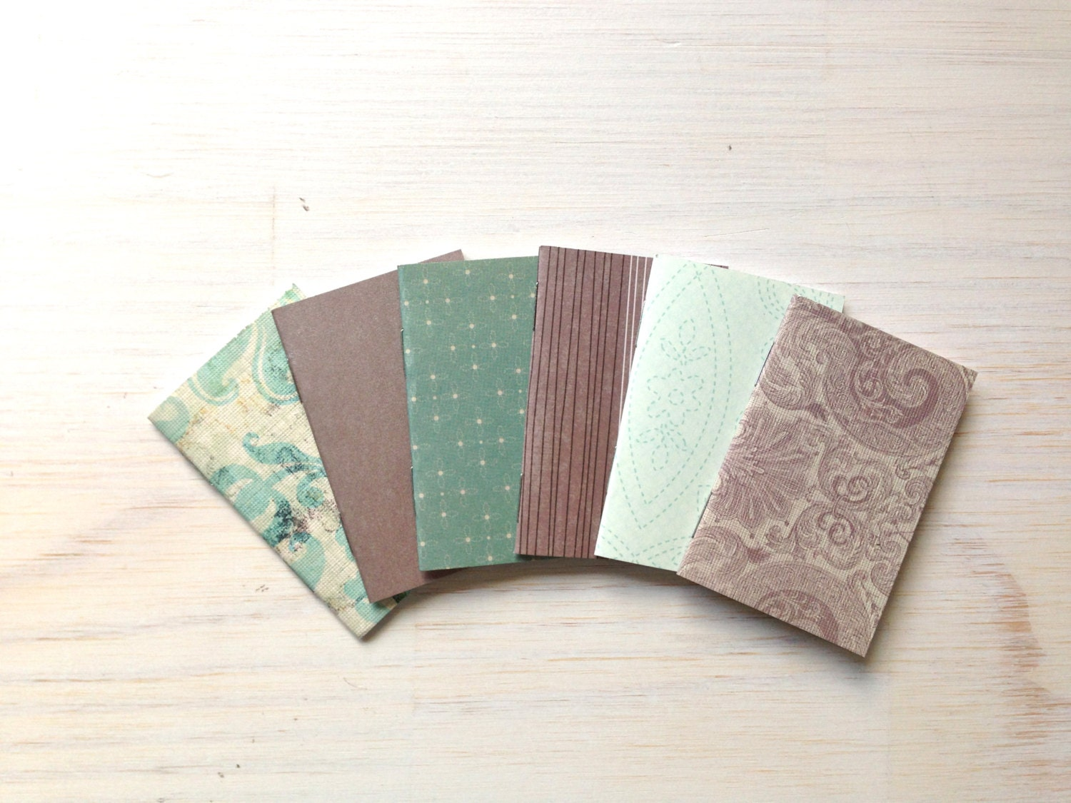 Tiny Journals: Small Notebooks, Mini Wedding Favors, Teal, Grey, Mini Journals, Small, Unique, Cute, Purse Journal - ordinaryartists