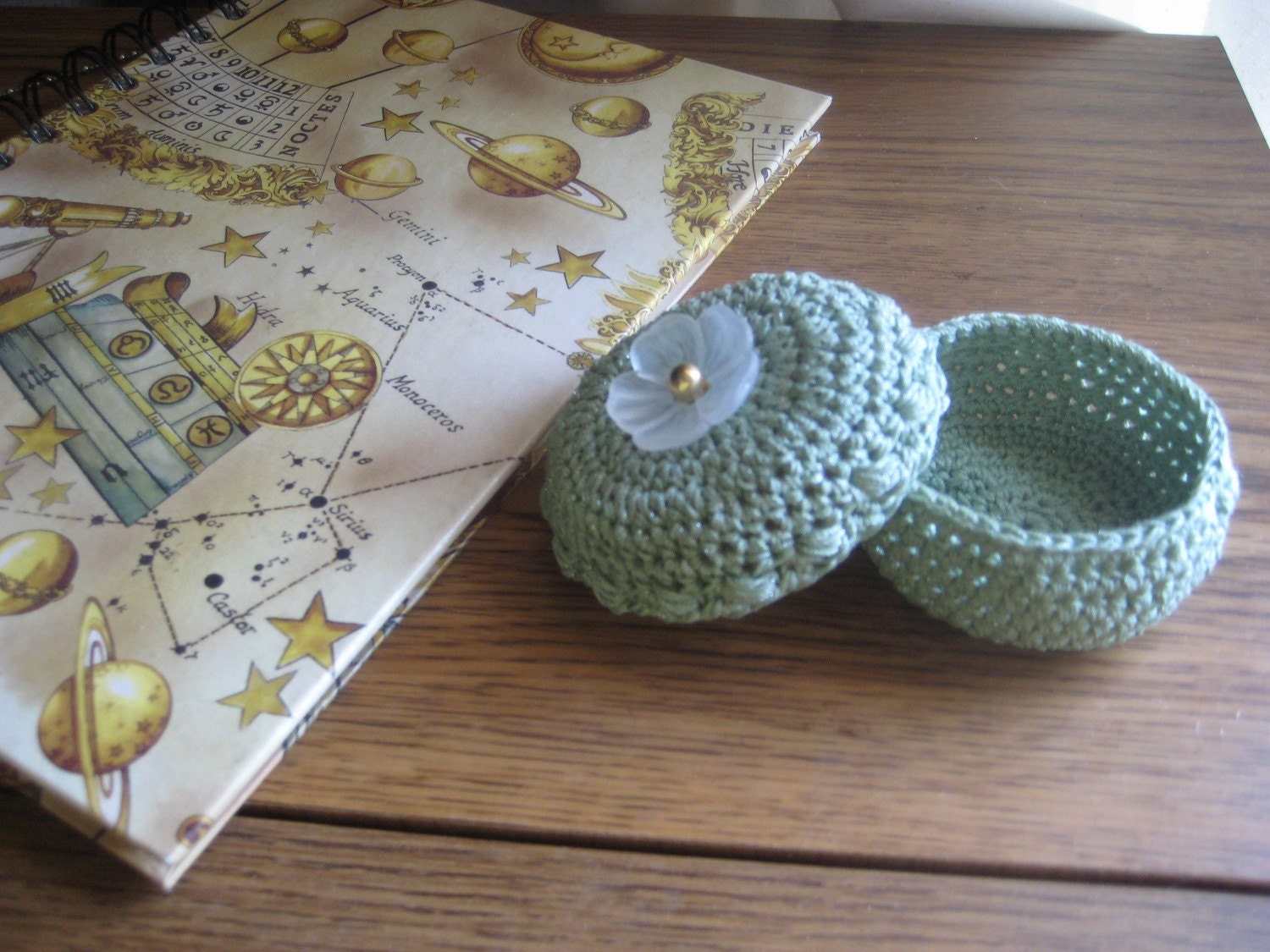 Tiny Crochet Basket with Button Flower Lid