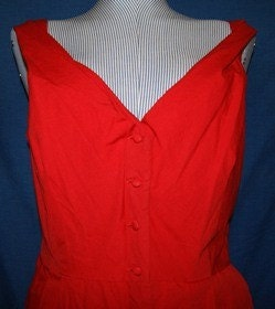 SALE....Vintage Inspired Afternoon Red Cotton Dress