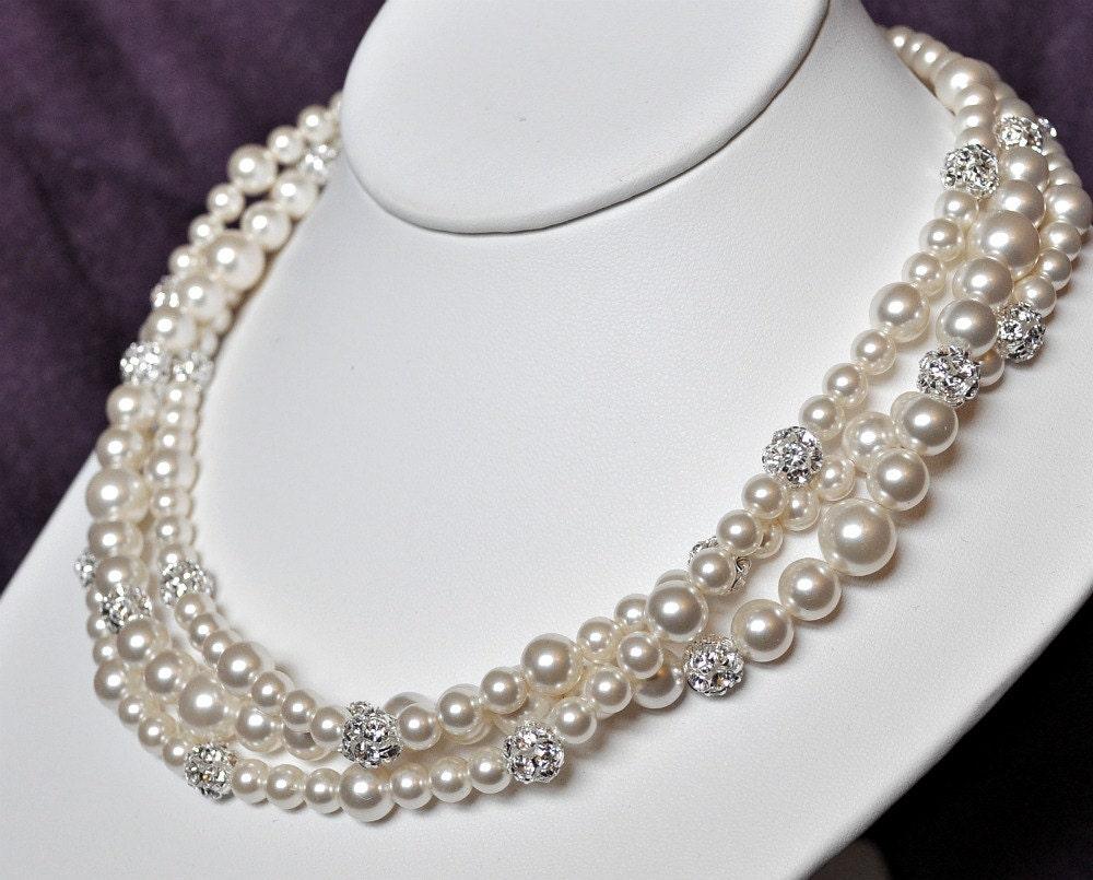 Bridal Statement Necklace, Pearl Wedding Necklace, Chunky Pearl Necklace, Rhinestone Necklace, Wedding Jewellery