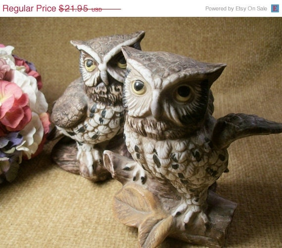 Vintage Owl Porcelain Bisque Figurines Homco Home Interiors Two Brown White and Grey Barn Owls Traditional Home Decor - TKSPRINGTHINGS
