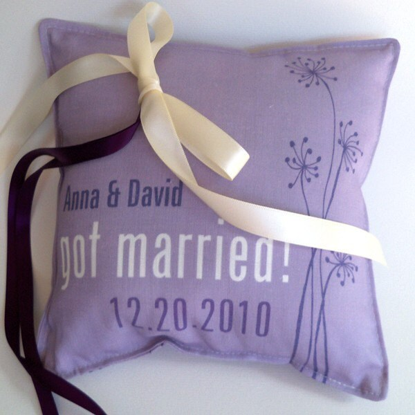 Wedding ring pillow, custom printed, dandelion