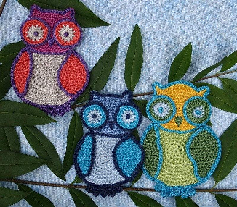 Cuddle Owls -  Crochet Pattern (Applique)
