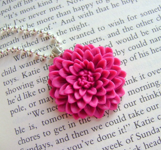 Deep Magenta Chrysanthemum  Bloom Necklace