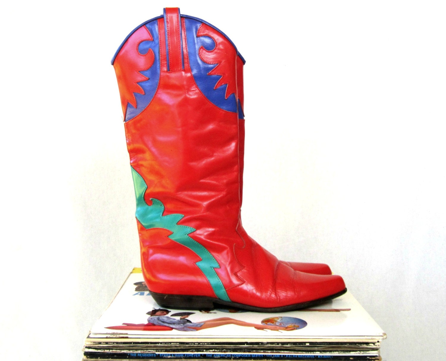 Vintage Leather Boots / Colorblock Shoes / Charles David / Made in Italy / Womens Size 7 1/2 - lovethatlingers