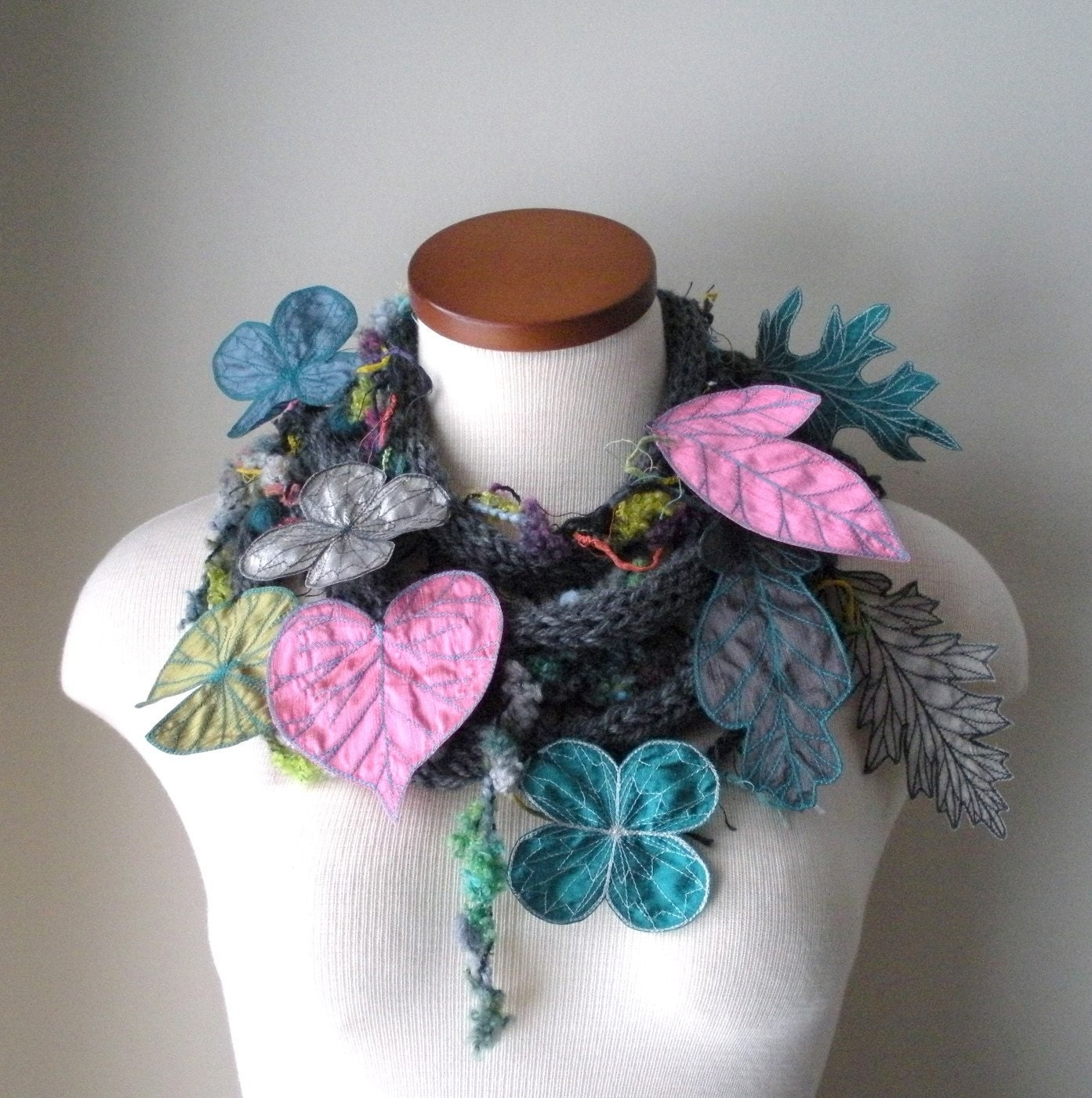 Long and Leafy Scarf with Embroidered Leaves- Grey with Thulian Pink, Light Grey, and Teal Berries