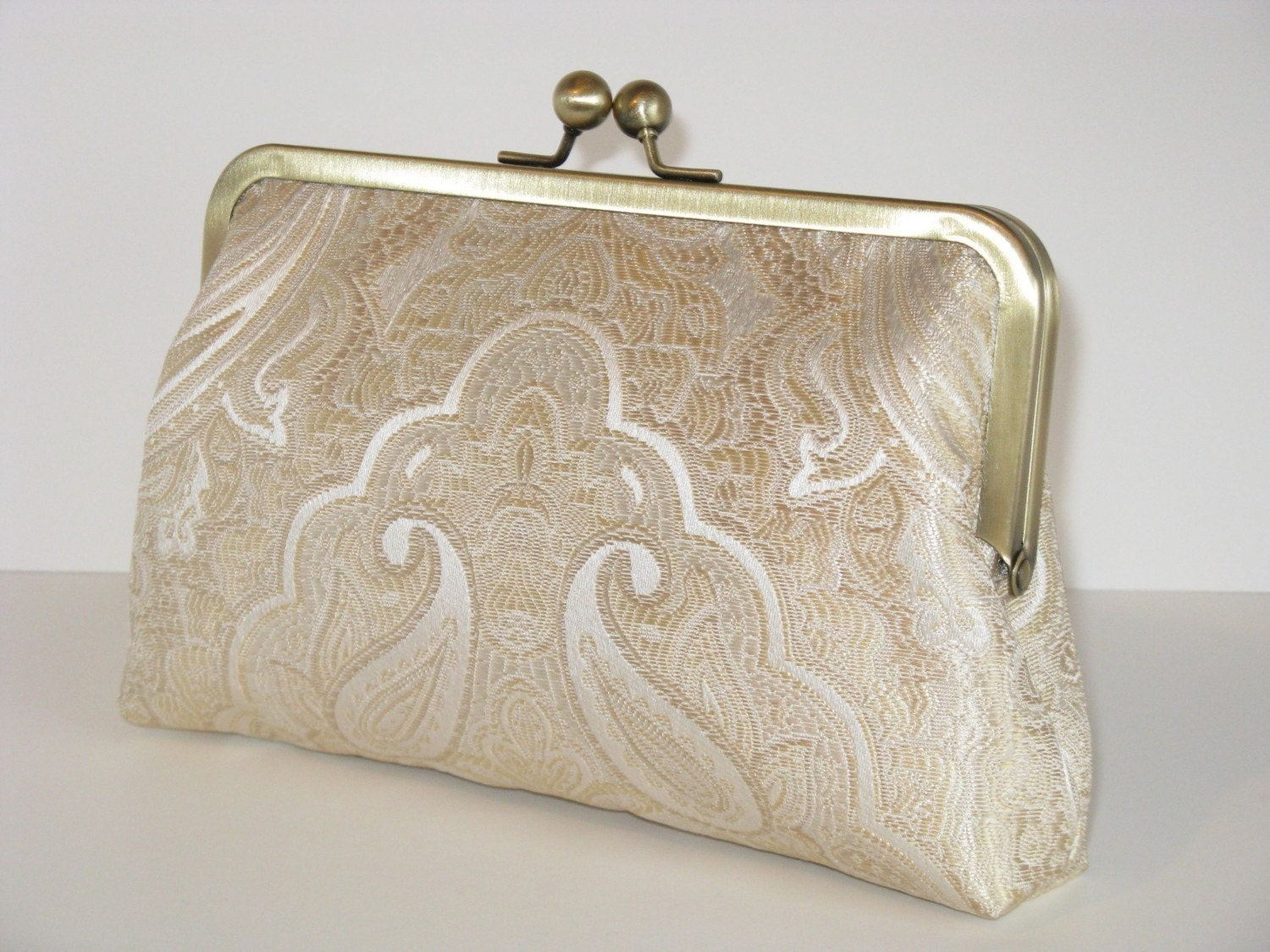 White Gold Clutch Purse