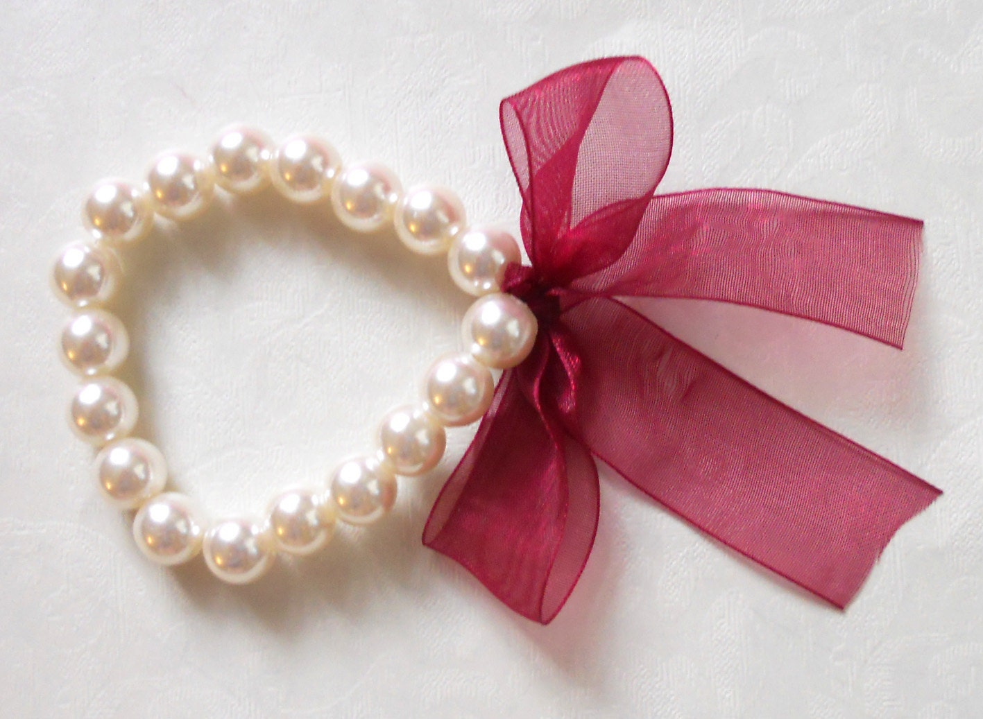 Pearl bracelet with maroon organza ribbon - bridal bracelet - bridesmaid bracelet - wedding - asteriasbridal