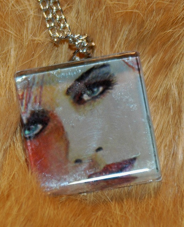 original art  jewelry glass tile pendant  blue eyed girl