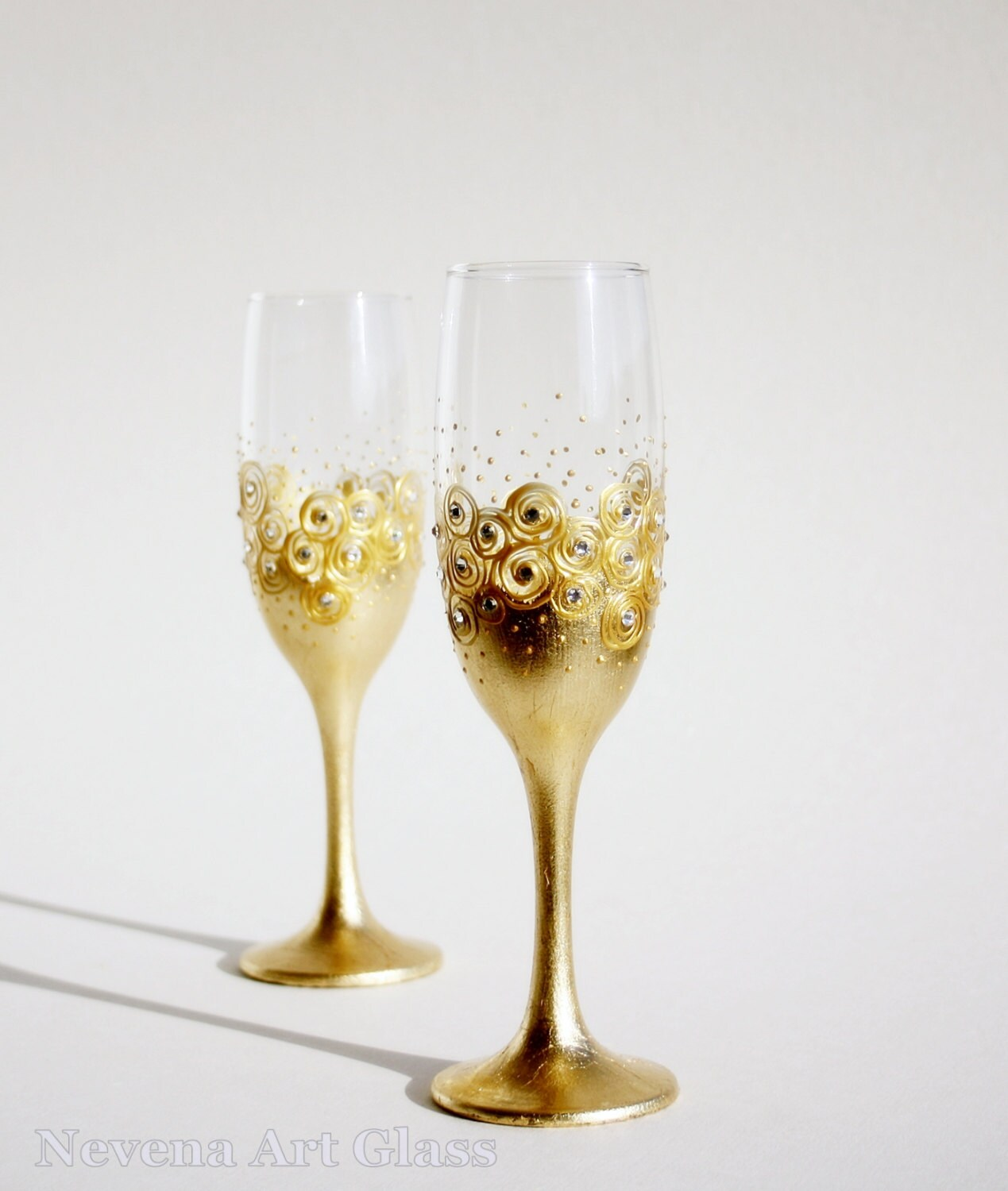 Wedding Glasses, Gold Champagne Glasses, Wine Glasses, Toasting Glasses, HAND PAINTED Set of 2