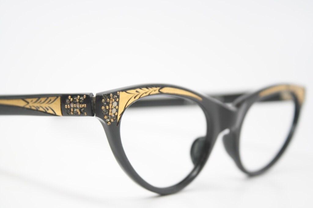 cat eye glasses rhinestone cateye eyeglasses NOS Vintage - VintageOpticalShop