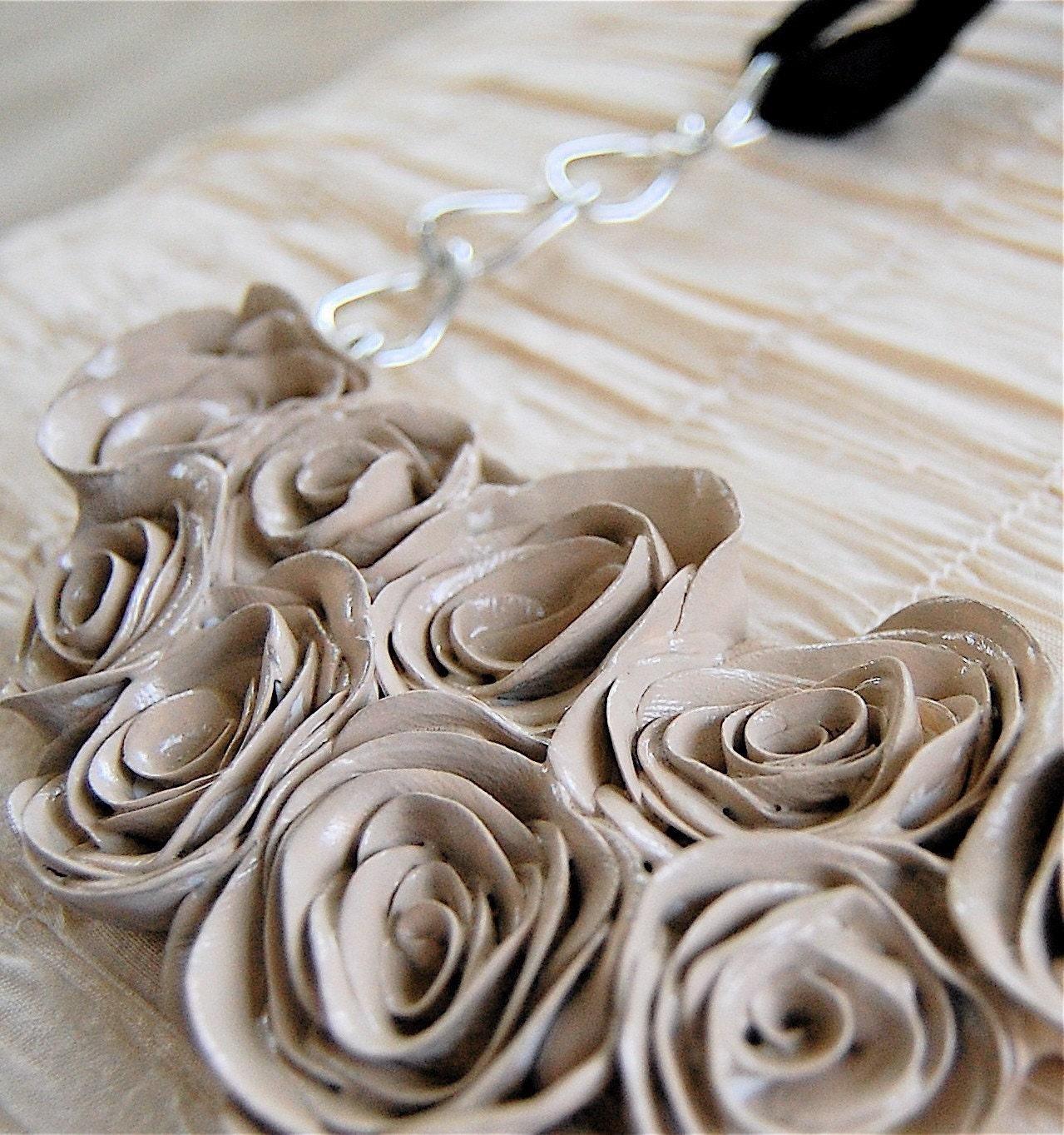 Linen Roses Bib Handmade Clay Necklace