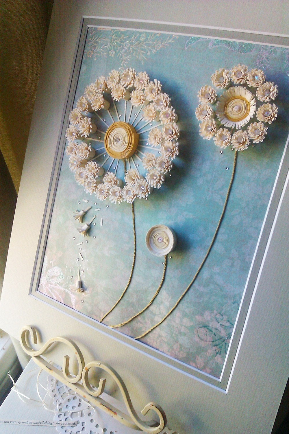 Dandelion Paper Quilling Artwork With Matting By