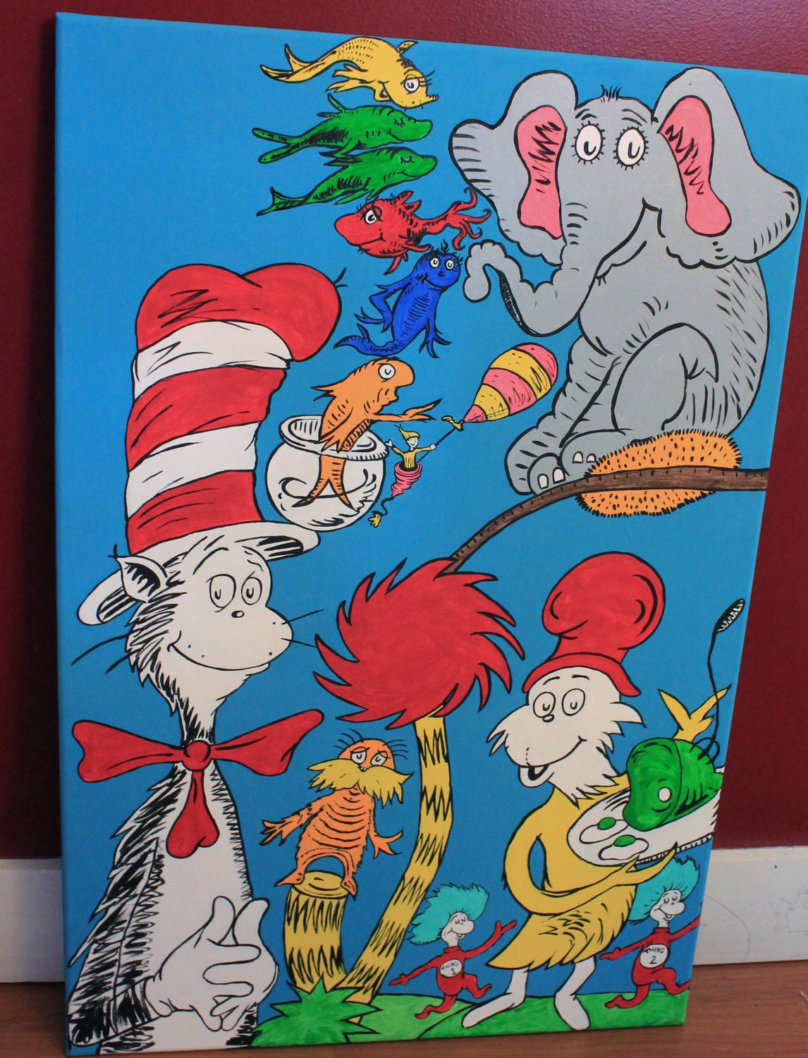 Items similar to dr seuss character mural on etsy for Character mural