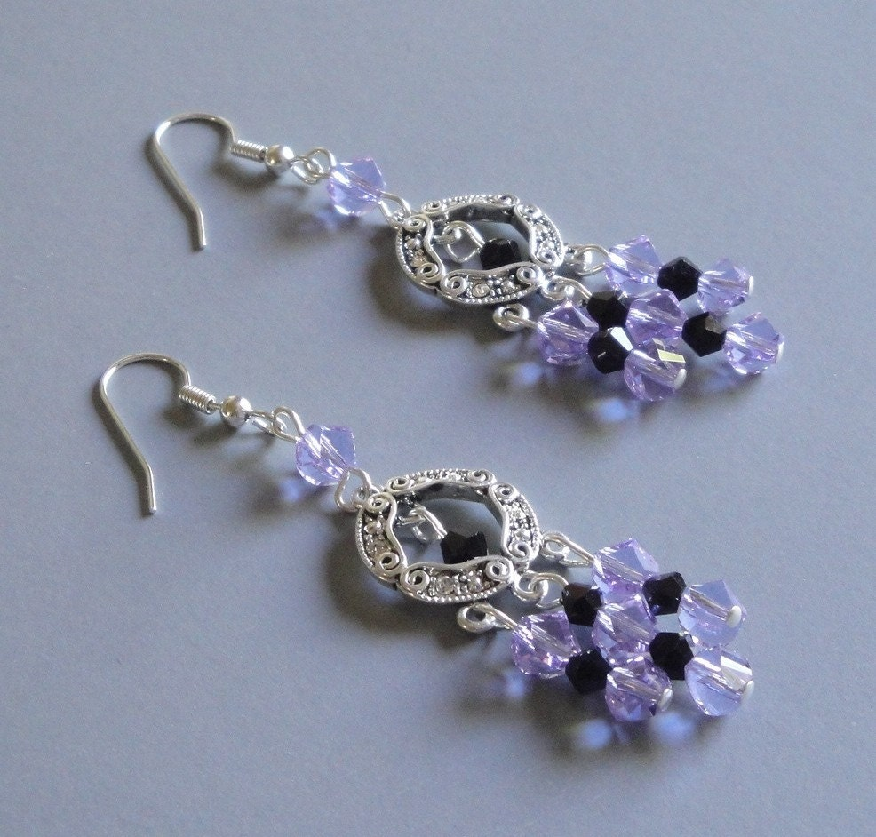 Tanzanite and Black Crystal Earrings