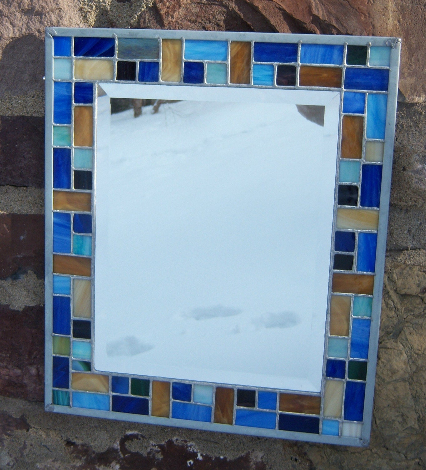 Mosaic style stained glass beveled mirror