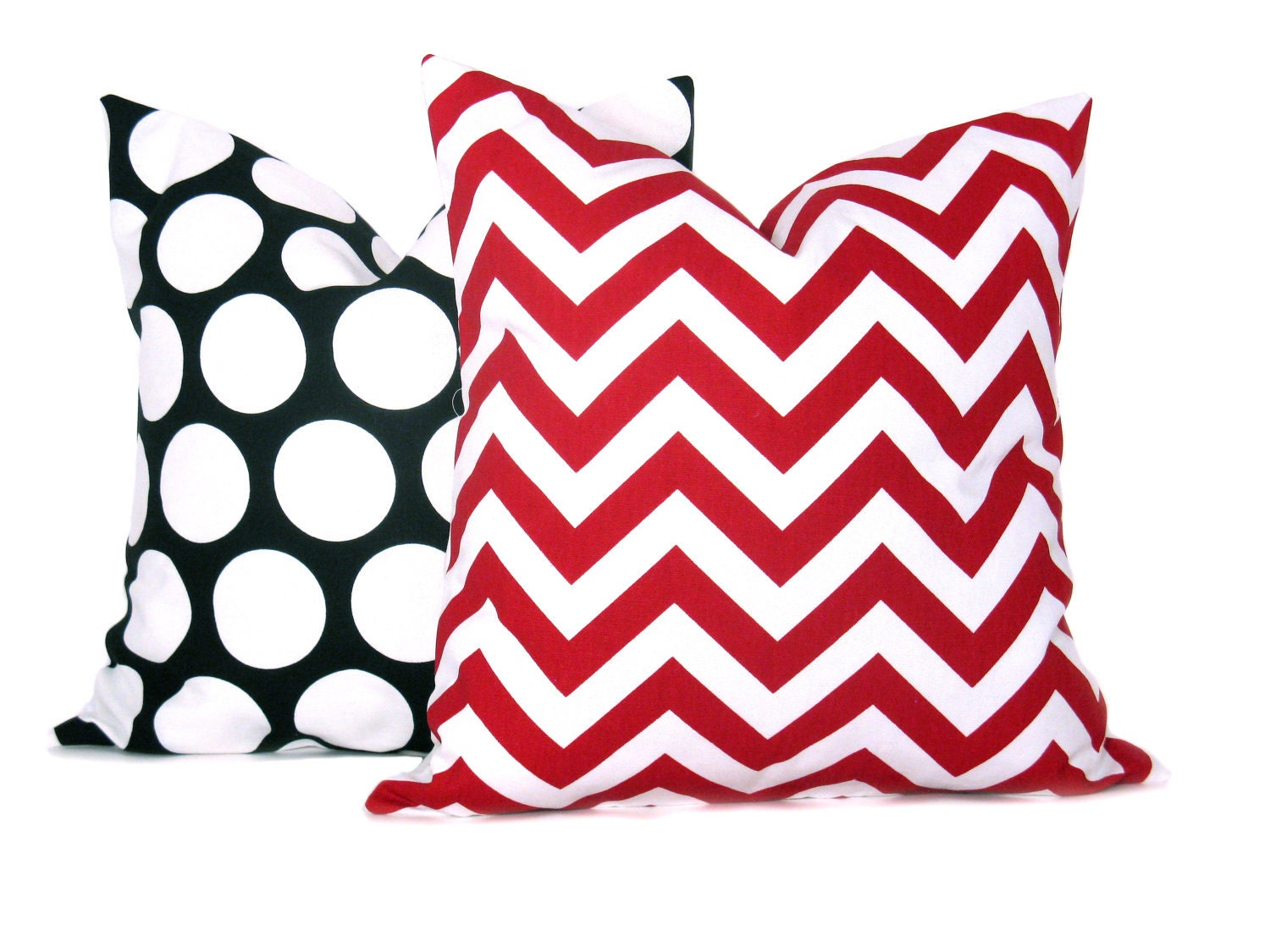 Throw Pillows Red and White Zigzag Black and White Dots Set of TWO 18x18