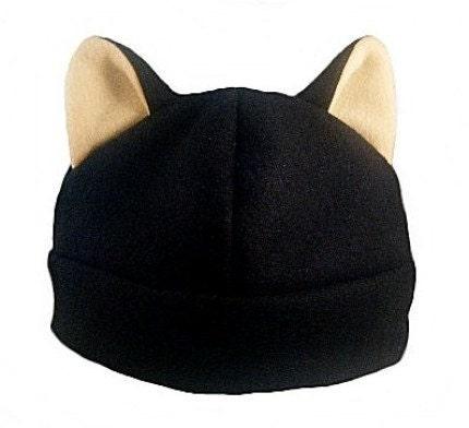 Black and Cream Kitty Cat Fleece Anime Hat (Single Layer)