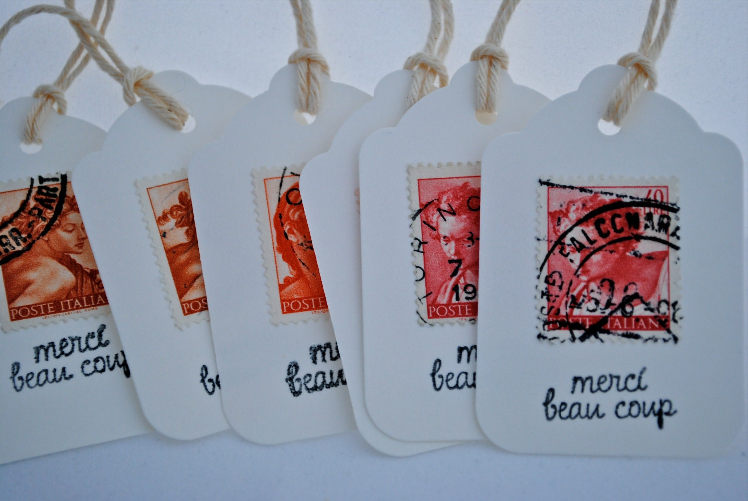 6 Vintage Postage Stamps thank you Tags - You choose color scheme - Merci beau coup
