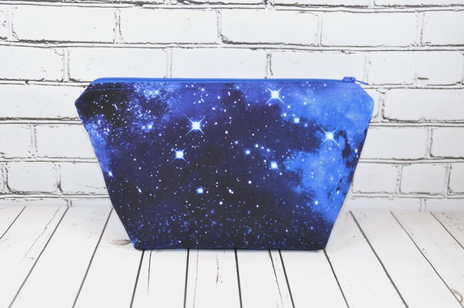 galaxy print zipper pouch space makeup bag by thecuriousneedle