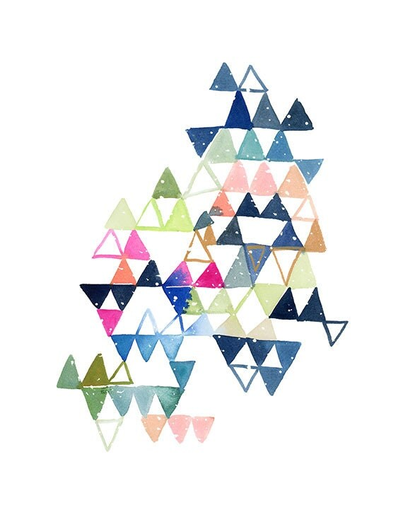 Handmade Watercolor Archival Art Print- Constellation Triangles in Blue, Magenta and Green - YaoChengDesign