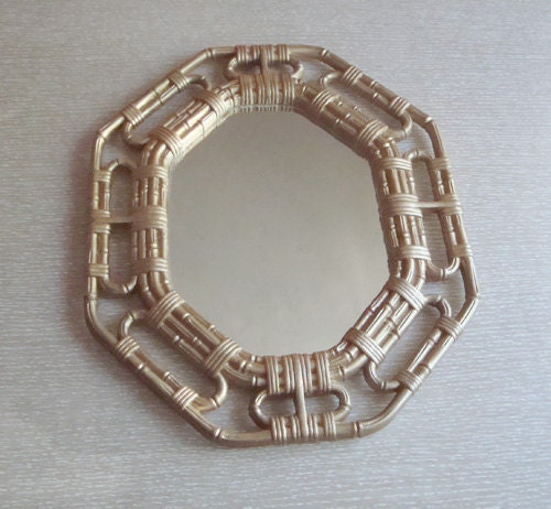 Vintage Gold Faux Bamboo Wall Mirror