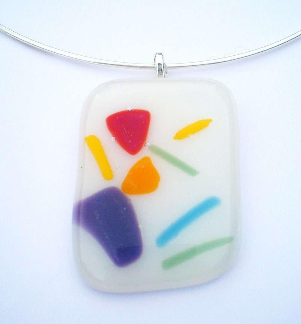 Rainbow Pieces Fused Glass NecklaceWhite One of A Kind by fruition from etsy.com
