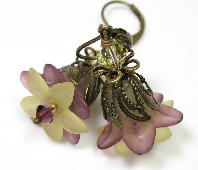Amethyst and Lemon Lucite Flower Vintage Style Earrings