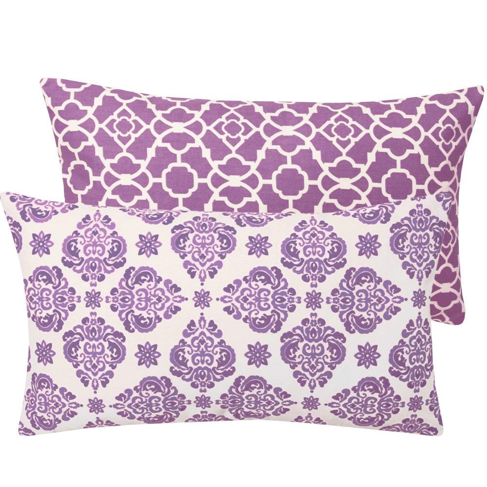 Purple Pillow Cover 12x20 Moroccan Nursery by ChloeandOliveDotCom