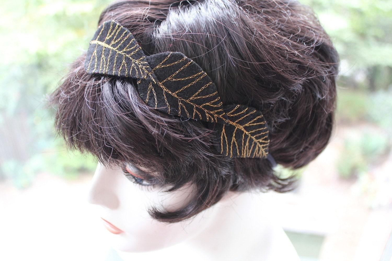 black embroidered gold leaf felt headband