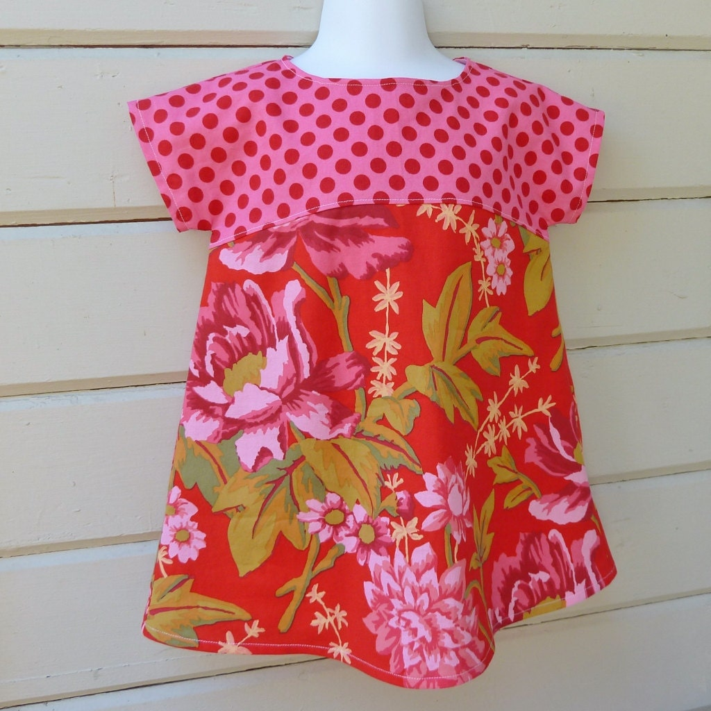Late Summer or Fall Girls Size 1 Sweet Little Dress Ready to Ship - msliesenfelder