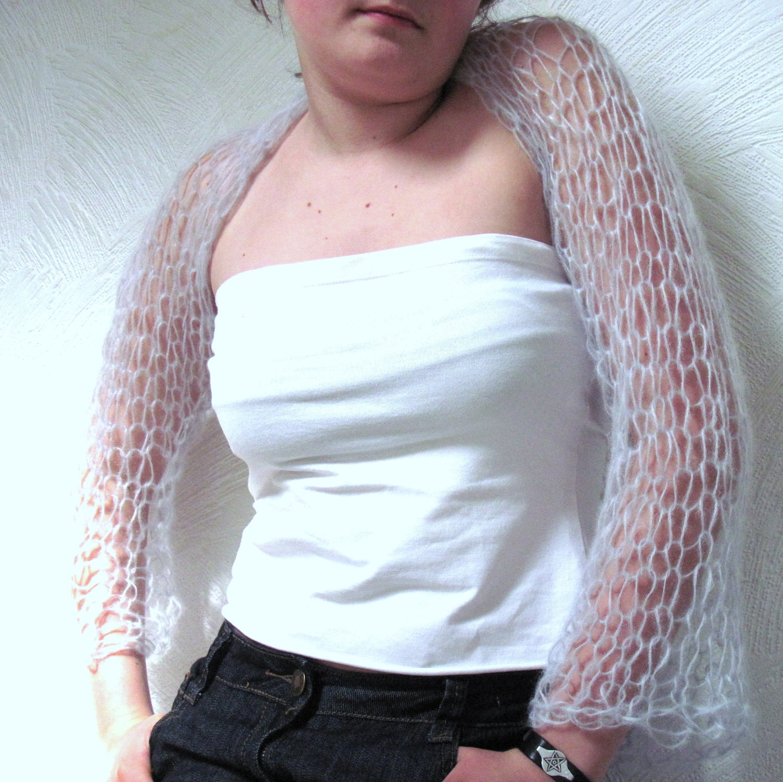 Hand Knitted Luxury Shrug Kid Mohair Shawl  Winter Spring Fashion Grey Blue Women