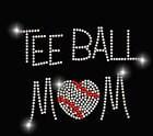 Tee Ball MOM Heart  Rhinestone TShirt - Several  Shirt Colors Available
