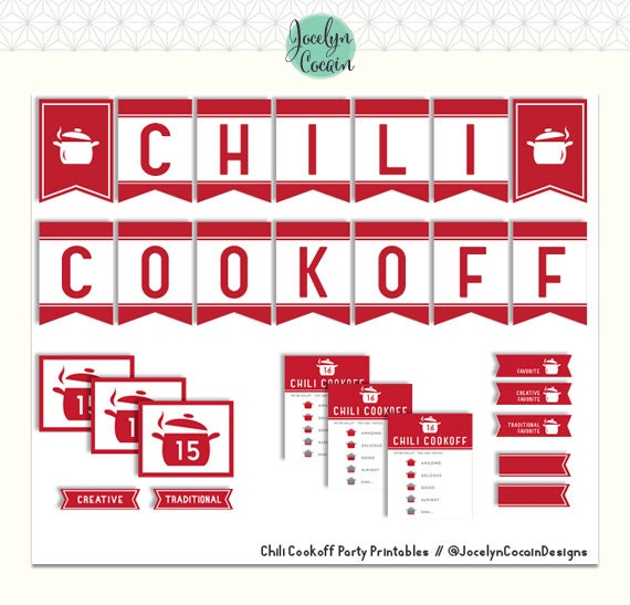 Chili Cookoff Party Set // Chili Co okoff Party Printables // Chili ...