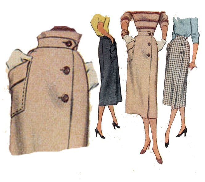 vintage slim wrap around pencil skirt side button by