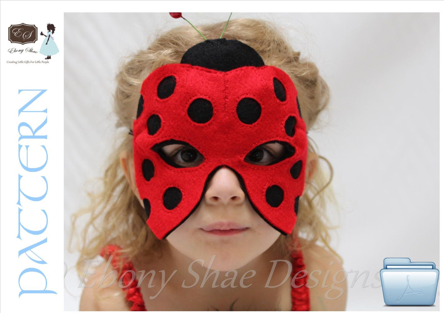 Ladybug Mask PATTERN PDF.  One Size Fits Most.  Instant Download. - EbonyShae