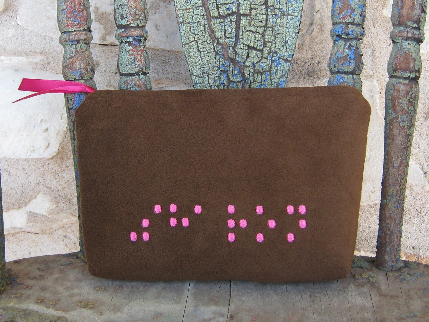 Cosmetic Makeup Zipper Bag Braille Ultra Suede Custom