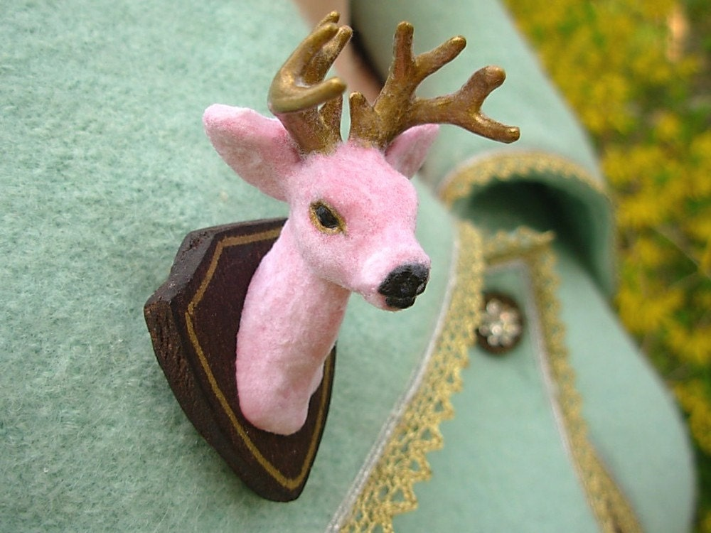 Buck Yourself Brooch/Pin - Pink and Gold Edition