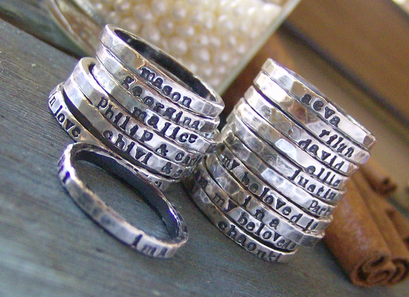 Hand Stamped Name Rings