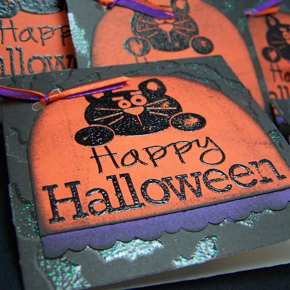 Halloween Card - Mini Note Card - Happy Halloween - Set of 6 - mamacateyes