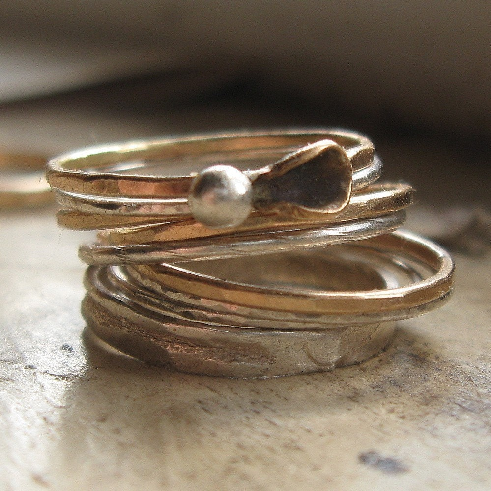 beautiful jewelry mixed metal stacking rings gold and silver