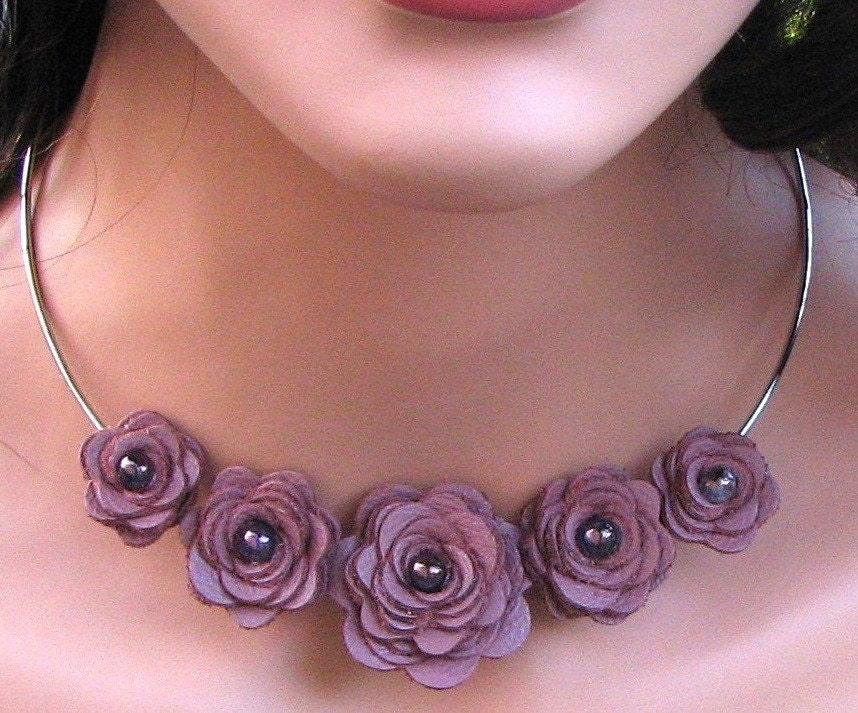 Floral Leather Necklace, Lilac Roses