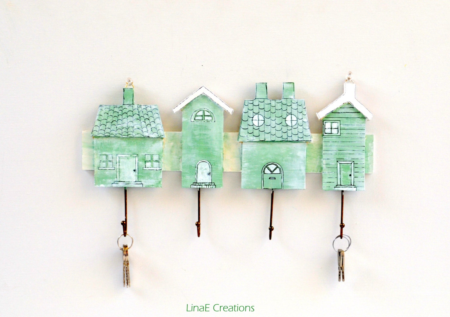 Handpainted mint houses wood rack, key, scarf , hat holder, spring summer home decor - LinaECreations