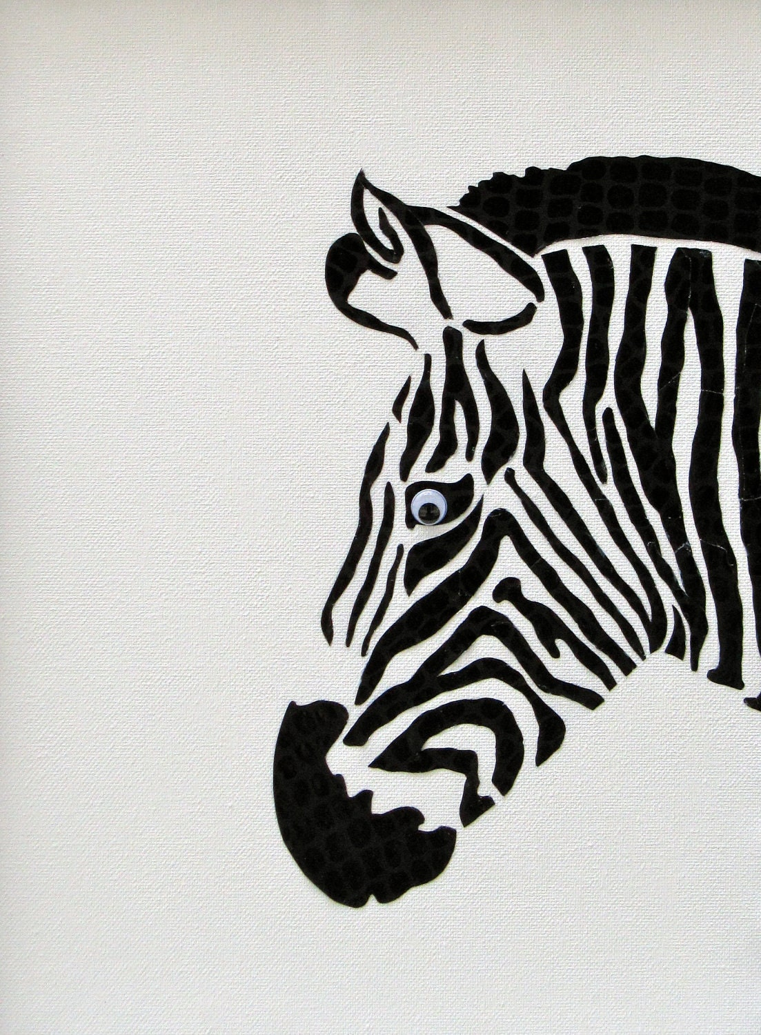 Black and White Beauty - Original Handmade Acrylic Paint and Paper Painting on Canvas - PaperAndPaintRocks